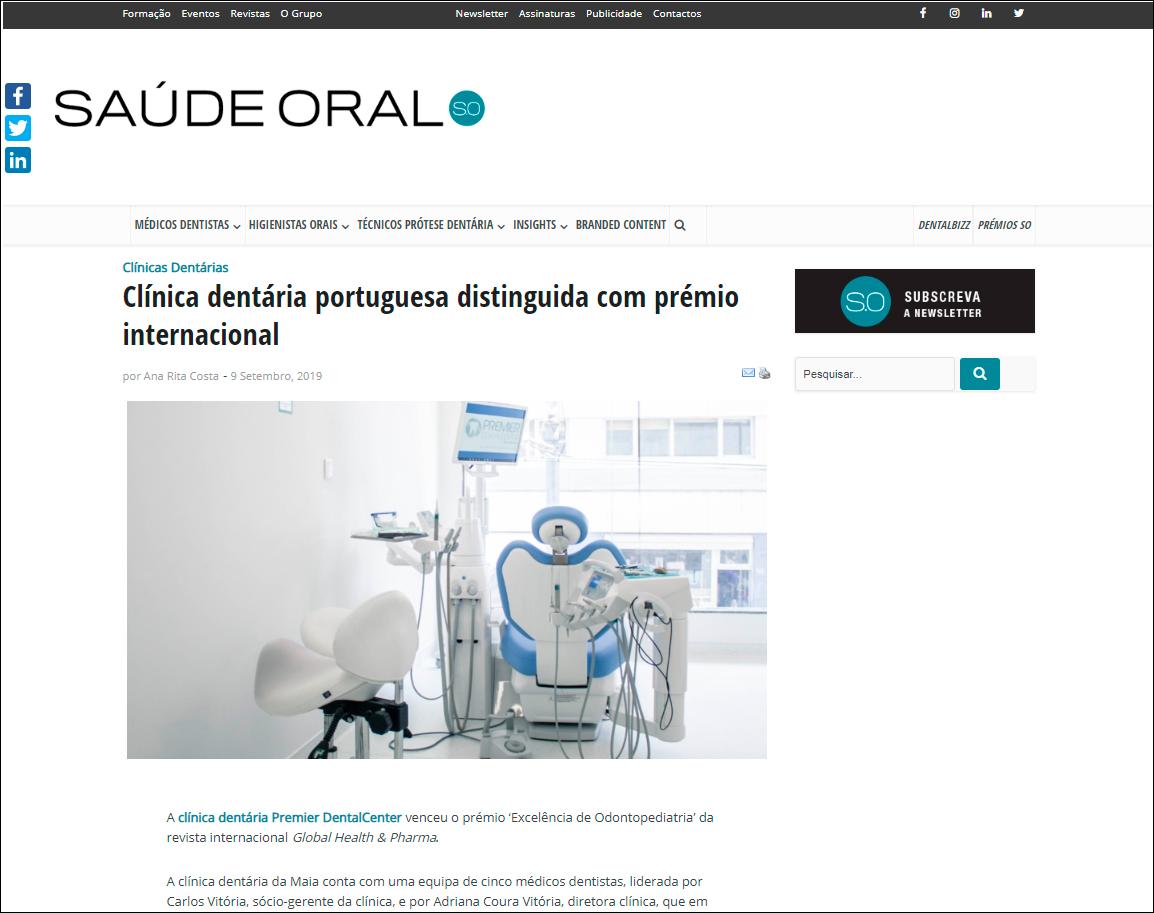 Revista Saúde Oral menciona a distinção com prémio internacional da Clínica PremierDentalcenter